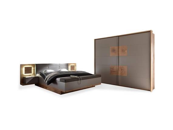 CAMERON II Schlafzimmer mit Betttruhe, Material Dekorspanplatte wildeichefarbig/basaltgrau DETAIL_IMAGE