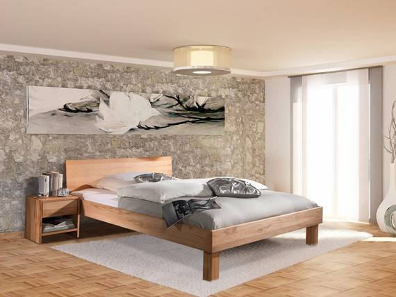 carina massivholzbett mit geschlossenem kopfteil 140 x 200 cm kernbuche. Black Bedroom Furniture Sets. Home Design Ideas