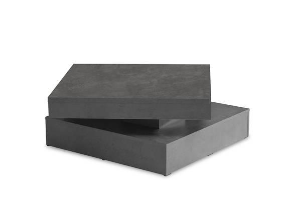 PARLA Couchtisch quadratisch mit Drehmechanismus, Material Dekorspanplatte betonfarbig dunkel DETAIL_IMAGE