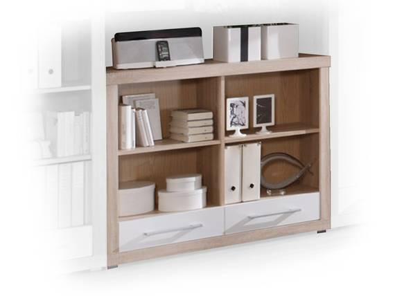CHARON Regal mit 4 Einlegeböden und 2 Schubkästen, Material Dekorspanplatte, Eiche sonomafarbig/weiss  DETAIL_IMAGE