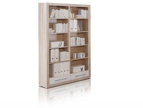 CHARON Regal mit 10 Böden und 2 Schubkästen, Material Dekorspanplatte, Eiche sonomafarbig/weiss  DETAIL_IMAGE