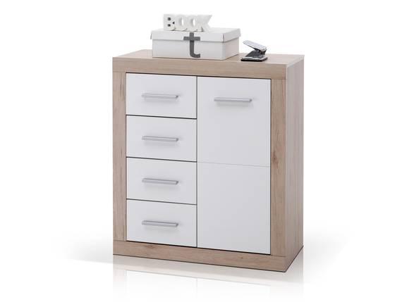CHESTER Kommode B6 1 Tür+4 Schubkästen, Material Dekorspanplatte, Eiche sanremofarbig/weiss  DETAIL_IMAGE