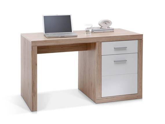 CHESTER Schreibtisch klein, Material Dekorspanplatte, Eiche sanremofarbig/weiss  DETAIL_IMAGE