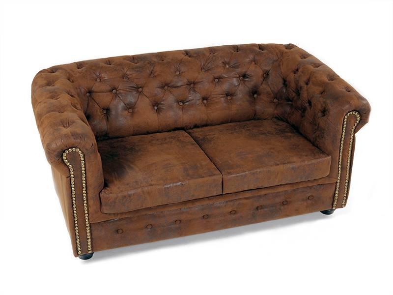 chesterfield 2 sitzer sofa gobi braun. Black Bedroom Furniture Sets. Home Design Ideas