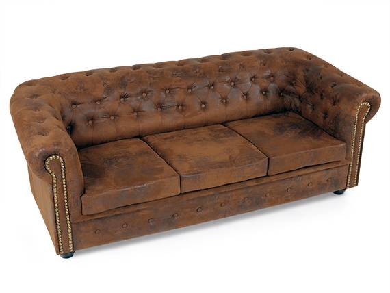 chesterfield 3er sofa gobi braun. Black Bedroom Furniture Sets. Home Design Ideas