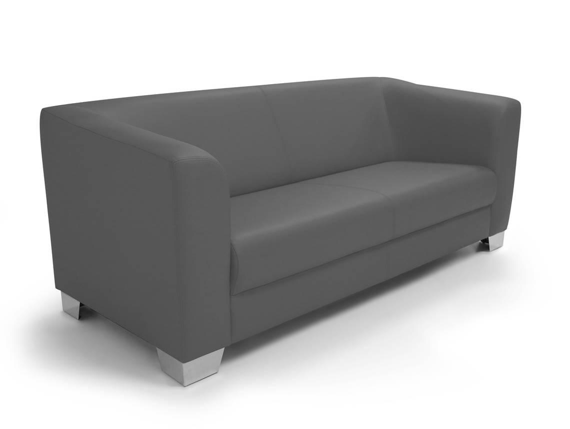 chicago 3 sitzer sofa ledersofa grau. Black Bedroom Furniture Sets. Home Design Ideas