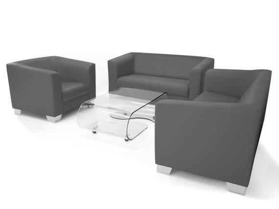 CHICAGO 3-2-1 Sofagarnitur, Material Kunstleder grau DETAIL_IMAGE