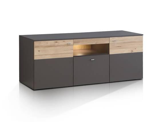 CLARA TV-Lowboard, Material Dekorspanplatte, grau/plankeneichefarbig  DETAIL_IMAGE