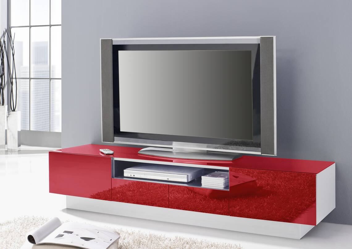 colour ii hochglanz tv bank lowboard 2 klappen 2. Black Bedroom Furniture Sets. Home Design Ideas