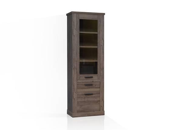 COLORADO Vitrine 2 Türen + 1 Schubkasten, Material Dekorspanplatte, eichefarbig Tabak  DETAIL_IMAGE