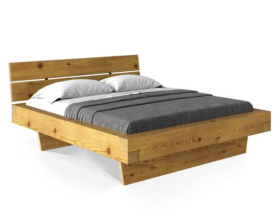 CURBY Balkenbett mit Kopfteil, Wangenfuß, Material Massivholz 140 x 200 cm | natur DETAIL_IMAGE