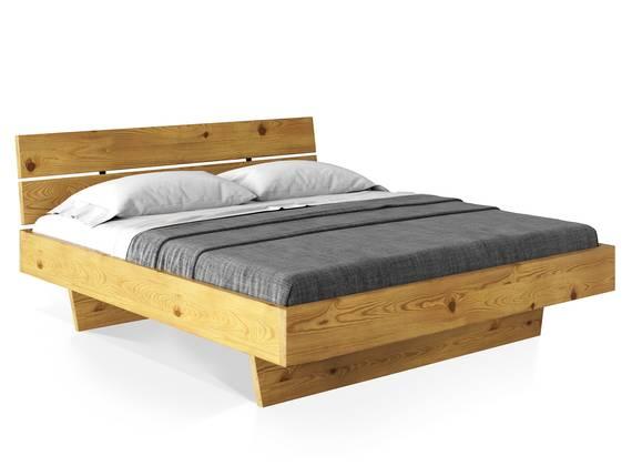 CURBY Wangenbett mit Kopfteil, Material Massivholz, rustikale Altholzoptik, Fichte gebürstet 90 x 200 cm | natur DETAIL_IMAGE