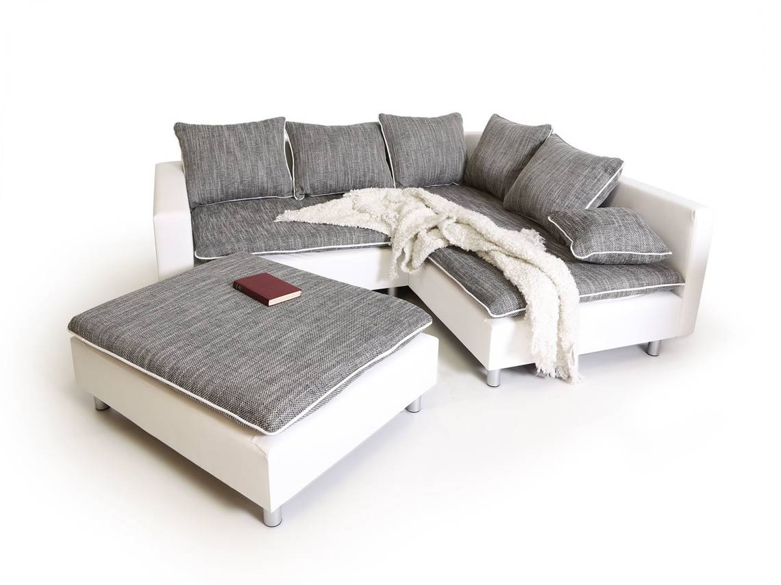 daggi ecksofa sofa couch weiss hellgrau rechts. Black Bedroom Furniture Sets. Home Design Ideas