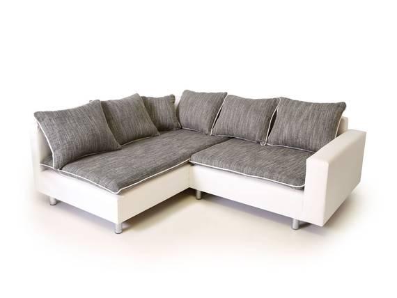 Daggi ecksofa sofa couch weiss hellgrau links for Ecksofa sitztiefe 70