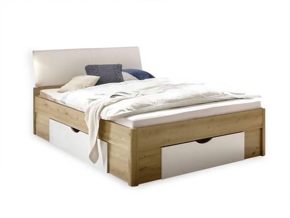 DELGARO Bett / Jugendbett 140x200 cm, Material Dekorspanplatte, eichefarbig/weiss  DETAIL_IMAGE