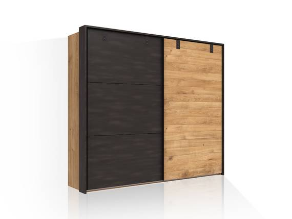 DASTY Schwebetürenschrank, Material Dekorspanplatte, plankeneichefarbig/dunkelgrau 250 cm DETAIL_IMAGE