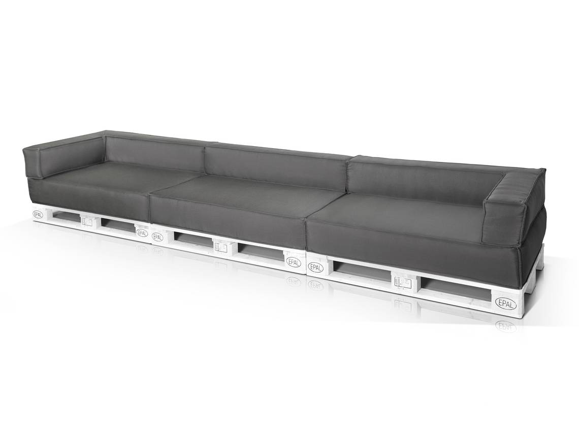 outdoor paletti xxl sofa europaletten weiss mit wasserfesten polstern. Black Bedroom Furniture Sets. Home Design Ideas