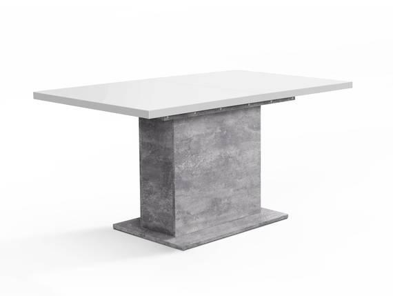 EVELINA Esstisch / Ausziehtisch mit Säulenfuß, Material Dekorspanplatte betonfarbig/weiss DETAIL_IMAGE