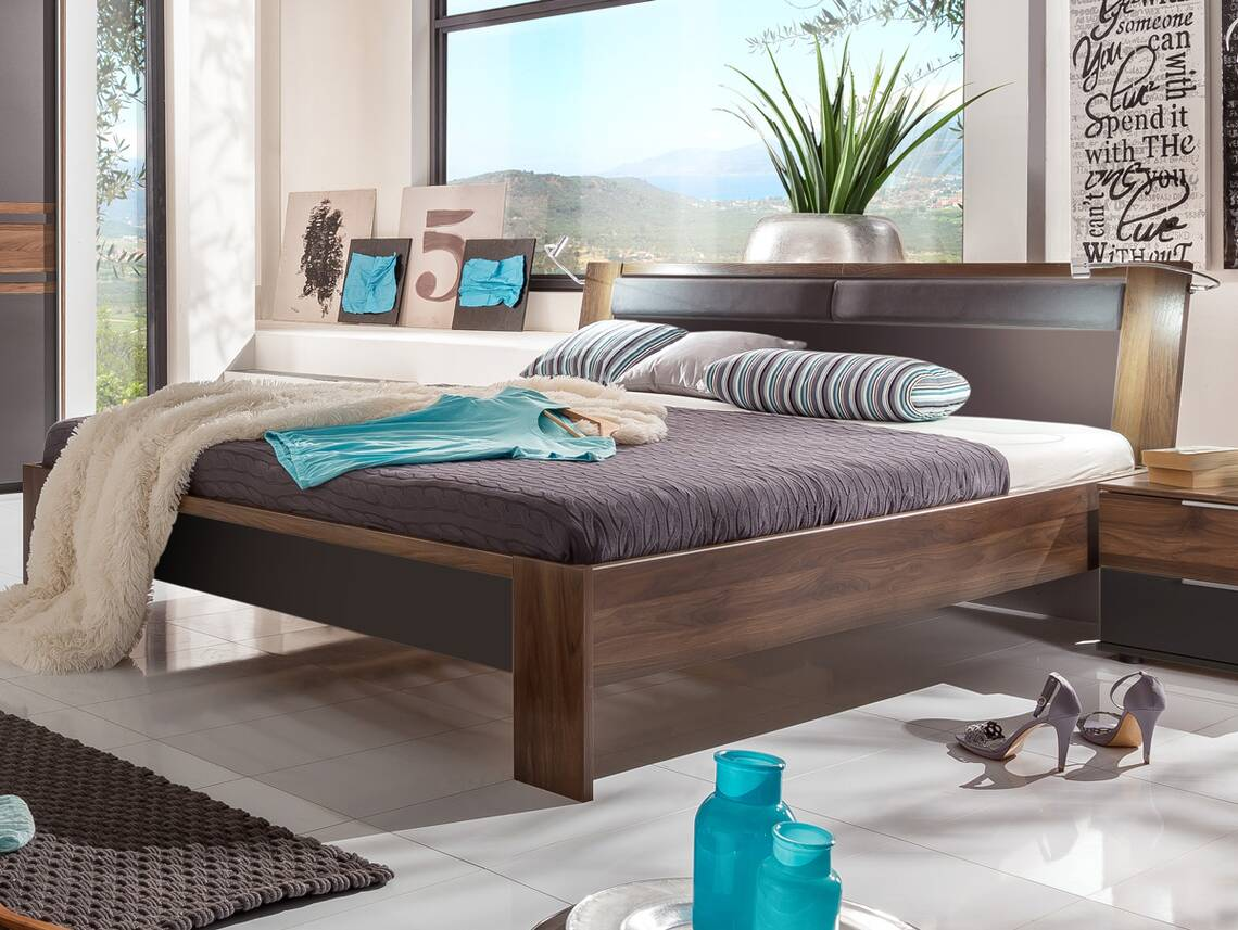 famous futonbett 160 x 200 cm lavagrau nussbaum. Black Bedroom Furniture Sets. Home Design Ideas