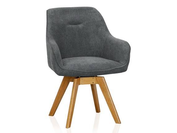 CHILLY Schalenstuhl, drehbar, Material Stoff/Beine massiv grau DETAIL_IMAGE