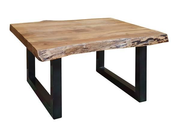 DUISBURG Couchtisch mit echter Baumkante, Material Massivholz,Akazie/Beine schwarz 80 x 80 cm DETAIL_IMAGE