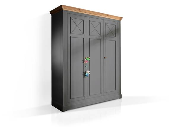 CARLY II Kleiderschrank 3trg, Material Massivholz, Kiefer grau/eichefarbig  DETAIL_IMAGE