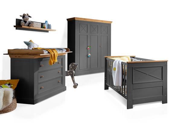 CARLY II Babyzimmer, Material Massivholz, Kiefer grau/eichefarbig  DETAIL_IMAGE