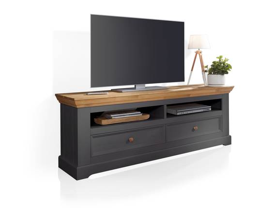 BORNHOLM II Lowboard II, Material Massivholz, Kiefer grau/eichefarbig  DETAIL_IMAGE