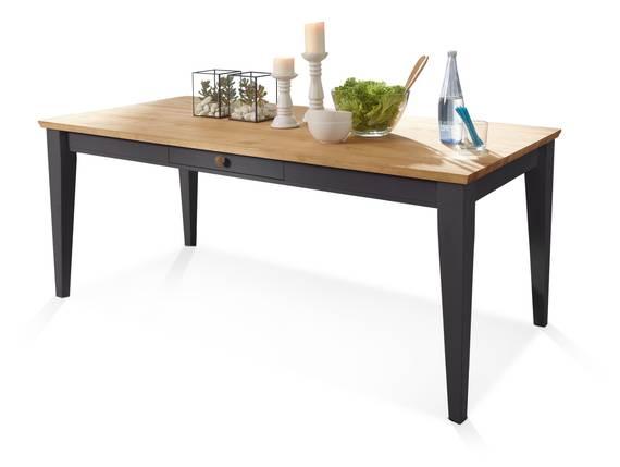 BORNHOLM II Esstisch 180x90 cm, Material Massivholz, Kiefer grau/eichefarbig  DETAIL_IMAGE