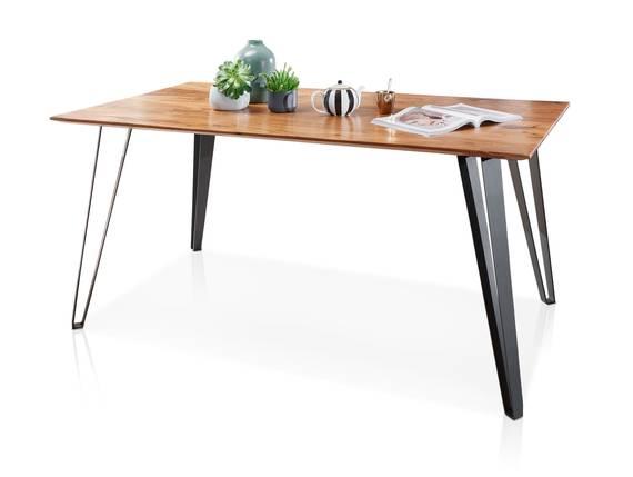 KAIRO Esstisch, Material Massivholz, Akazie lackiert/Fuß schwarz 140 x 90 cm DETAIL_IMAGE