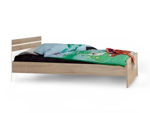 GARRY Futonbett, Material Dekorspanplatte 140x200 cm | weiss/eichefarbig sägerau DETAIL_IMAGE
