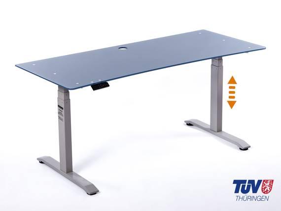 OFFICE ONE elektrisch verstellbarer Schreibtisch / Stehtisch, Material Glasplatte 10 mm 160x70 cm | blau | grau DETAIL_IMAGE