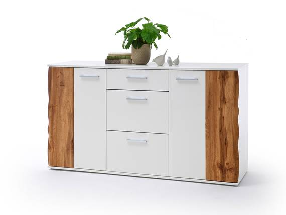 GRAZIA Sideboard, Material Dekorspanplatte, weiss Hochglanz/Wotan eichefarbig  DETAIL_IMAGE