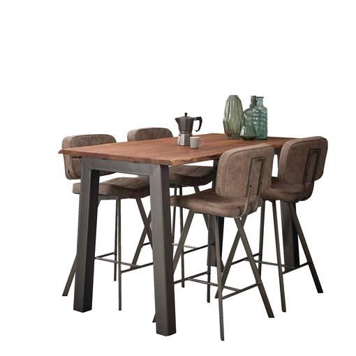 GREMO Bartisch 147x80 cm, Material Massivholz/Metall, Akazie mit Gestell  DETAIL_IMAGE