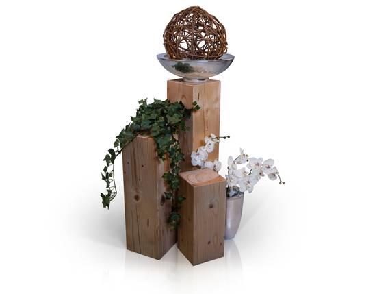 Blumensäulen 3-er Set, Material Massivholz, Fichte massiv eichefarbig   19x19 cm DETAIL_IMAGE