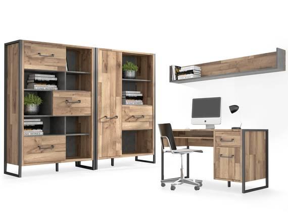 HANIKA Komplett Büro, Material Dekorspanplatte, eichefarbig/betonfarbig  DETAIL_IMAGE