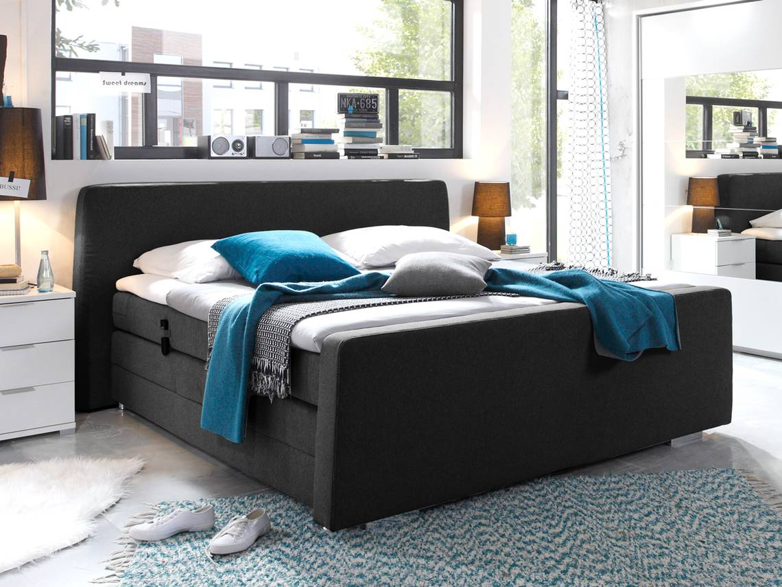 honesto boxspringbett 180x200 mit motor schwarz. Black Bedroom Furniture Sets. Home Design Ideas