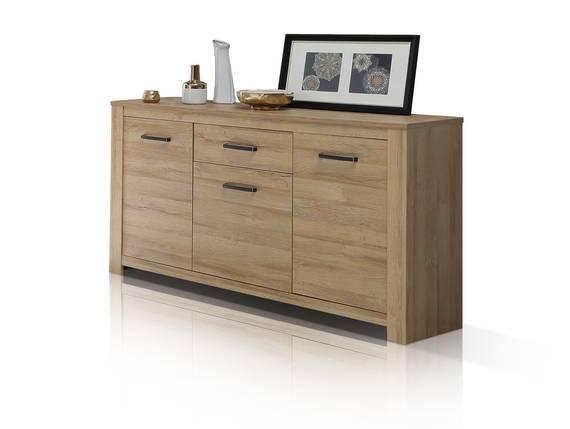 HUDSON Sideboard 3 Türen+1 Schubkasten, Material Dekorspanplatte, alteichefarbig  DETAIL_IMAGE