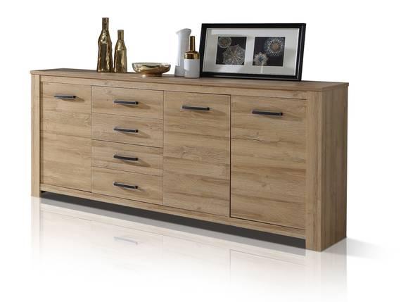 HUDSON Sideboard 3 Türen+4 Schubkasten, Material Dekorspanplatte, alteichefarbig  DETAIL_IMAGE
