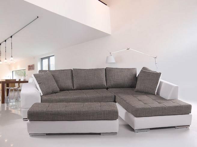 hugo sofa kunstleder weiss webstoff grau ottomane rechts. Black Bedroom Furniture Sets. Home Design Ideas