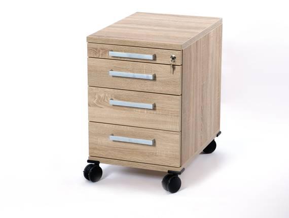 OFFICE ONE Rollcontainer klein mit 3 Organisationsschubkästen, Material Dekorspanplatte Eiche sonomafarbig DETAIL_IMAGE
