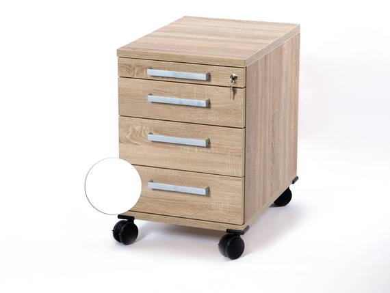 OFFICE ONE Rollcontainer klein mit 3 Organisationsschubkästen, Material Dekorspanplatte weiss DETAIL_IMAGE
