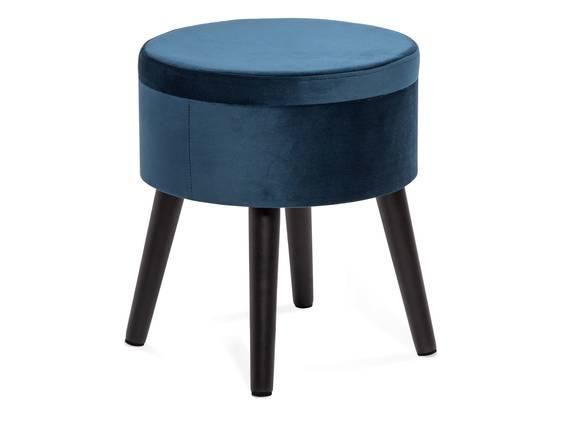 POUFO Hocker mit Stauraum, rund, Bezug Samt, Füsse schwarz blau DETAIL_IMAGE