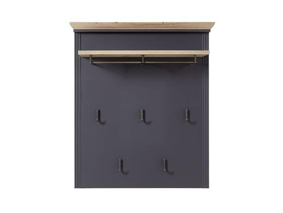 JADY Garderobenpaneel mit Ablageboden, Material MDF graphitfarbig/eichefarbig DETAIL_IMAGE