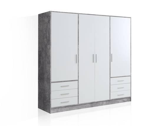 JAMI Kleiderschrank 4-trg. mit 6 Schubkästen, Material Dekorspanplatte betonfarbig/weiss DETAIL_IMAGE