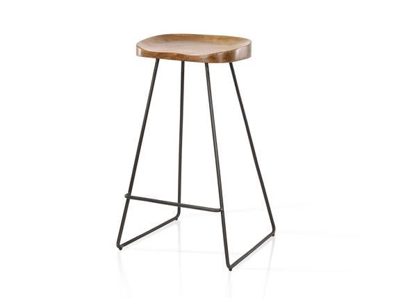JARON Barhocker, Material Massivholz/Metall, Sitzfläche Akazie + Gestell schwarz  DETAIL_IMAGE