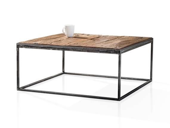 JASCHA Couchtisch 80x80 cm, Material Massivholz, rustikal mit Metallgestell  DETAIL_IMAGE