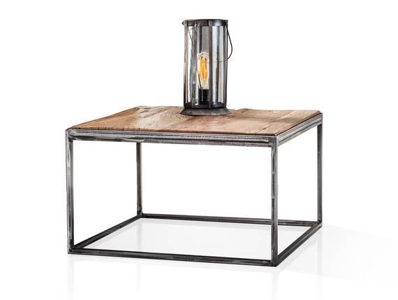 JASCHA Couchtisch 60x60 cm, Material Massivholz, rustikal mit Metallgestell  DETAIL_IMAGE