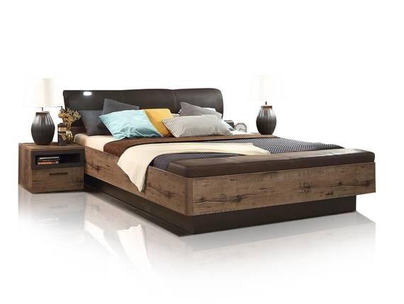 JESOLO Bettanlage XL 180x200 cm inkl. Bettbank, Material Dekorspanplatte, schlammeichefarbig  DETAIL_IMAGE