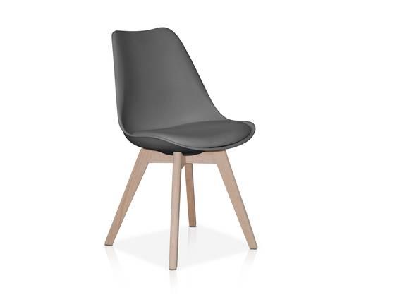 JOKER Schalenstuhl / Esszimmerstuhl, Material Kunststoff/Massivholz grau DETAIL_IMAGE